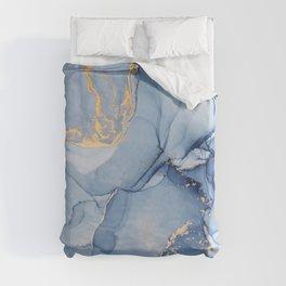 Abstract 1 Blue & Gold Art Print By LandSartprints Duvet Cover