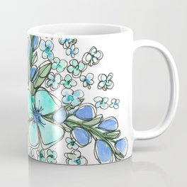 Blue Forget Me Not Floral Watercolor Coffee Mug