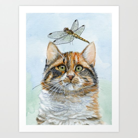 Dragonfly and calico kitty Art Print