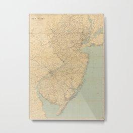Vintage Map of New Jersey (1891) Metal Print