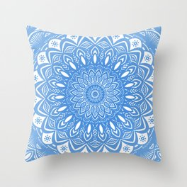 Light Blue Cobalt Mandala Simple Minimal Minimalistic Throw Pillow
