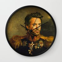 robert downey jr Wall Clocks featuring Robert Downey Jr. - replaceface by replaceface