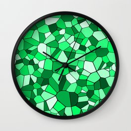 Monochrome Green Mosaic Pattern Wall Clock