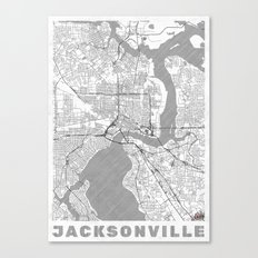 Jacksonville Map Line Canvas Print