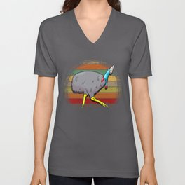 Cassowary Sunset Retro Gift design Unisex V-Neck