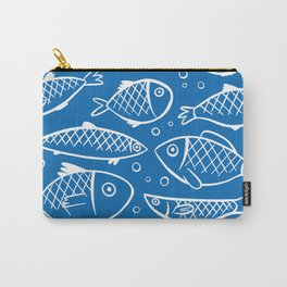 Fish blue white Carry-All Pouch