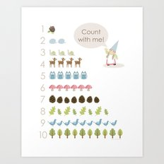 Woodland Counting - Pink Art Print