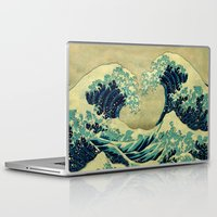 asian Laptop & iPad Skins featuring The Great Blue Embrace at Yama by Kijiermono
