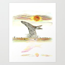 Sunset Whale Surf Lineup Art Print