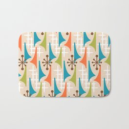 Mid Century Modern Atomic Wing Composition 66 Brown Orange Turquoise and Chartreuse Bath Mat