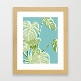 Block Printed Leaves Framed Art Print