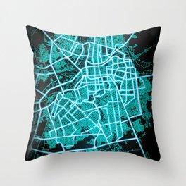 Culiacán, Sinaloa, Mexico, Blue, White, Neon, Glow, City, Map Throw Pillow
