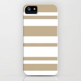 Mixed Horizontal Stripes - White and Khaki Brown iPhone Case