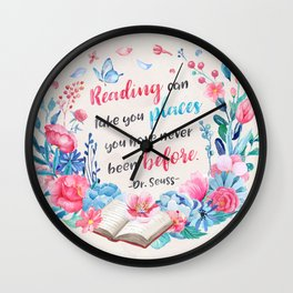 Reading can take you places Wall Clock