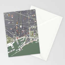 Barcelona city map engraving Stationery Cards