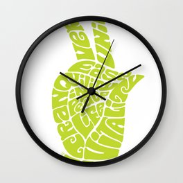 Life Force Hand in Bright Yellow Lime Wall Clock