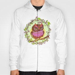 Small Pink Owlet With Wildflower Wreath Hoody