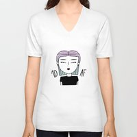 fangirl V-neck T-shirts featuring SHE: FANGIRL by SaladInTheWind