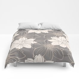 Pink and grey autumn dahlia flowers Comforters