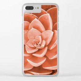 Red Succulenta Flower Clear iPhone Case