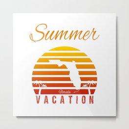 Summer Vacation Florida Miami Beach Holiday Sunset Retro Vintage Metal Print