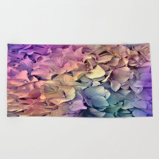 Soft Multi Color Hydrangea Beach Towel
