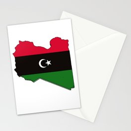 Libya Map with Libyan Flag Stationery Cards