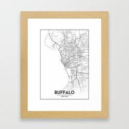 Minimal City Maps - Map Of Buffalo, New York, United States Framed Art Print