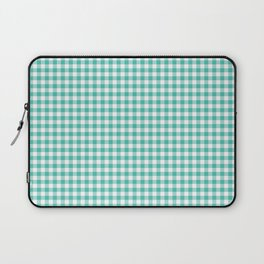Modern green white checker picnic stripes pattern Laptop Sleeve