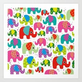 Colorful india elephant kids illustration pattern Art Print