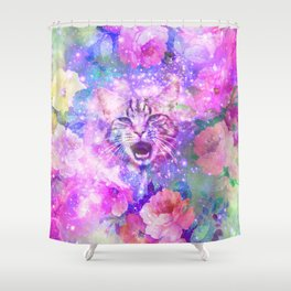Space Cat | Girly Kitten Cat Romantic Floral Pink Nebula Space Shower Curtain