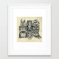 owls Framed Art Prints featuring Nine Owls by Rachel Caldwell