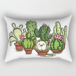 Green - Cactus and Hedgehog Rectangular Pillow