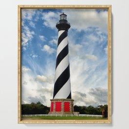 Cape Hatteras Lighthouse Coastal Landscape Photograph Serving Tray