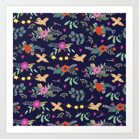 Cute vintage pattern with birds and flowers Art Print