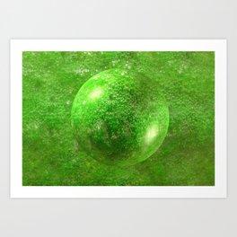 Green Bubble Sphere Art Print