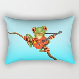 Tree Frog Playing Acoustic Guitar with Flag of China Rectangular Pillow