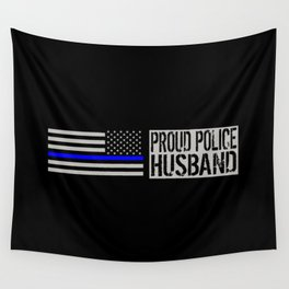 Police: Proud Husband (Thin Blue Line) Wall Tapestry