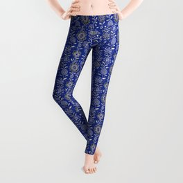 wonky wildflower waterfall ... in indigo Leggings