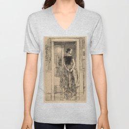 Childe Hassam - Girl in a Modern Gown Unisex V-Neck