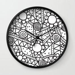 Doodle Art Flowers - Pathways 2 Wall Clock
