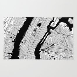 New York City Black and White Map Rug