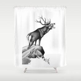 Stag Roaring in the Rut Shower Curtain