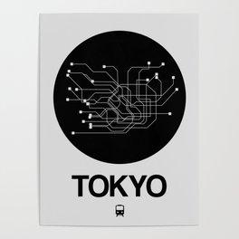 Tokyo Black Subway Map Poster