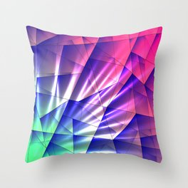 Bright glare of crystals on irregularly shaped blue and violet triangles. Throw Pillow