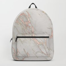 Marble Rose Gold Blush Pink Metallic by Nature Magick Backpacks