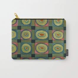 Strong Green Grid filled with Yellow Circles Carry-All Pouch