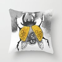 beetle Throw Pillows featuring Beetle by Dnzsea