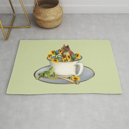 Coffee Cup with squirrel and frog and sunflowers Rug