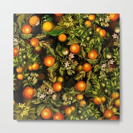 Vintage & Shabby Chic- Tropical Fruit Night Garden Metal Print